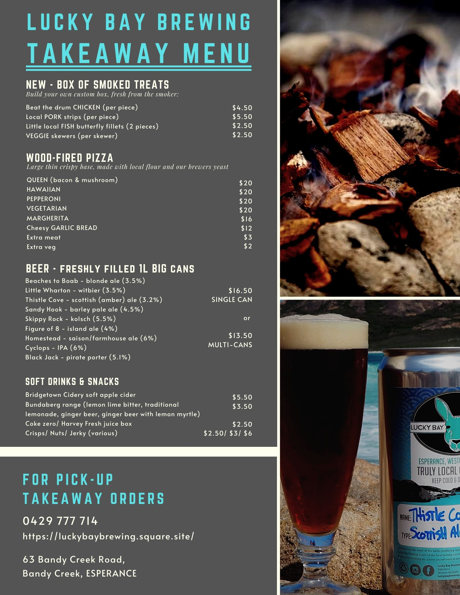 Lucky Bay Brewing Takeaway Menu
