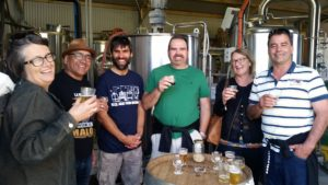People enjoying a brewery tour at Lucky Bay Brewing