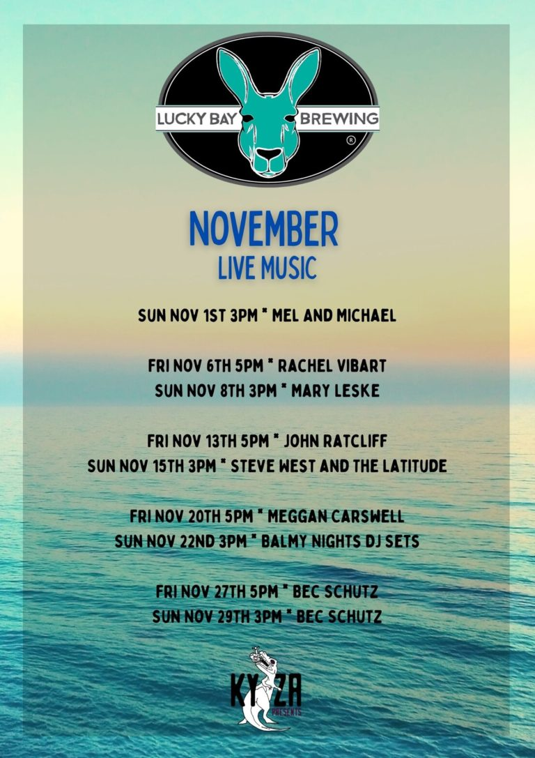 November music line-up at Lucky Bay Brewing