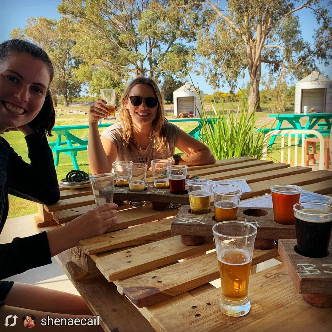 Enjoying beers at Lucky Bay Brewing
